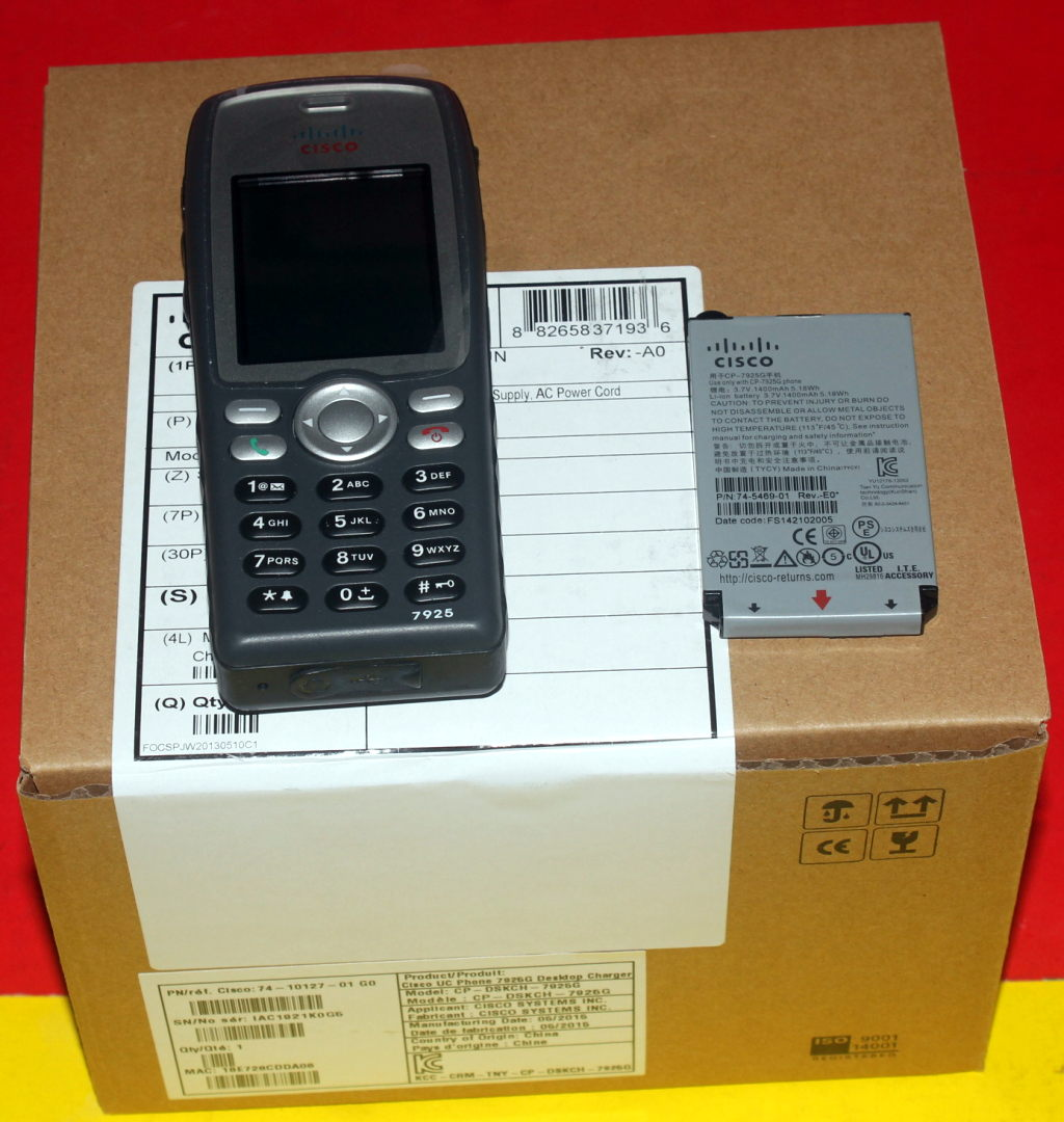 Details about Cisco CP-7925G-A-K9 Phone with Battery and NEW  CP-DSKCH-7925G-BUN 40xAvailable